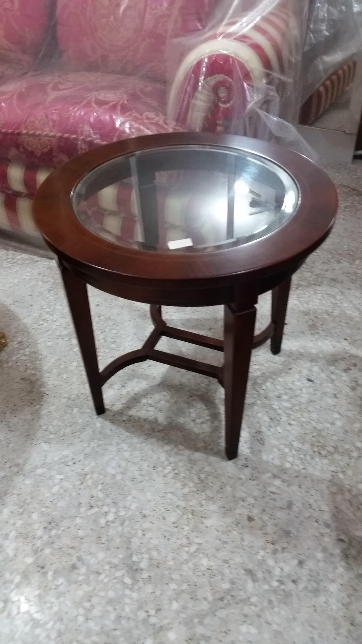Tavolino Rotondo In Legno Con Piano In Vetro Tc8